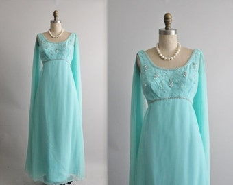 STOREWIDE SALE 60's Beaded Chiffon Gown // Vintage 1960's Beaded Aqua Chiffon Goddess Empire Evening Gown Maxi Dress S