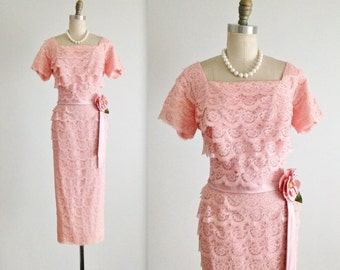 50's Lace Dress // Vintage 1950's Fitted Pink Lace Garden Party Cocktail Dress L