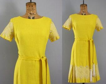 1960s dress / 60s embroidered dress / yellow dress medium
