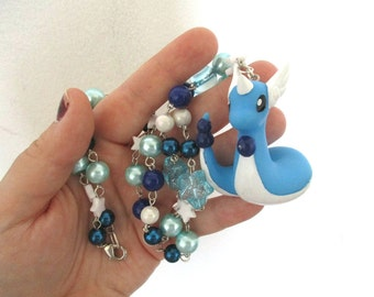 Pokémon Necklace - DRAGONAIR - Beaded BANDAI Figure Necklace - Gamer Gear