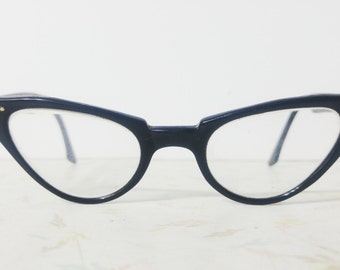 1950's Black Cat Eye Glasses Cateye Vintage Eyeglasses Black Classic Pin up