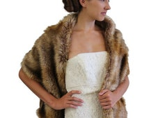World Animal Day Bridal fur stole, Vintage brown faux fur stole fox fur shrug bridal fur wrap fur shawl, bridal stole, wedding stole, fau...