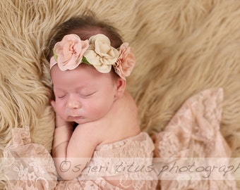 Blush Pink and Beige Flower Headband - Baby - Newborn - Flower Girl - Flower Crown - Soft Headband - Vintage Look - Muted Color