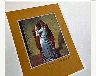 Antique Print on Silk - The Kiss - Francisco Hayez
