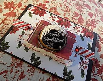 Handmade Christmas Card - Winter wonderland - Red Black White