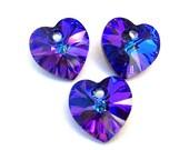Heliotrope Swarovski crystal heart pendants, 10mm, Qty 3