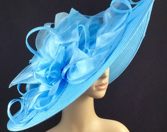 Light Blue Kentucky Derby Hat,Derby Hat,Dress Hat Wedding Hat Wide Brim BLACK Hat Tea Party Hat Ascot