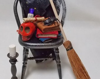 Dolls house Miniature Witch's Filled Chair, Witch's Broom and Large Candlestick