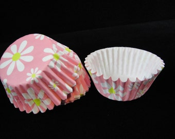 Pink Daisy Cupcake Liners, Easter Cupcake Liners, Spring Cupcake Liners, Muffin Papers, Baking Liners, Cupake Papers, Easter - Quantity 24