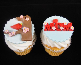 Edible Mother's Day Cupcake Toppers, Fondant Toppers, Cupcake Decorations, Mother's Day Celebrations, Edible Bird Toppers - Qty 12