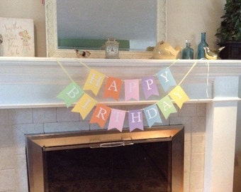 Happy Birthday banner, Pastel Spring Fresh colors, ready to ship