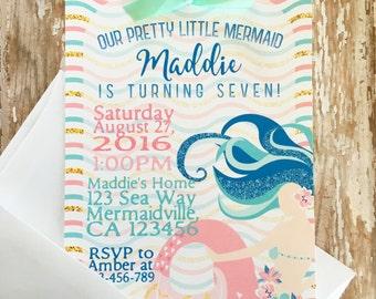 12 mermaid birthday invitations, mermaid party invite, pink blue gold mermaid invitations, custom mermaid birthday, girl birthday invite