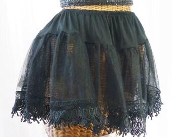 Petticoat Rayon Crinoline Black 134 Inch Lace Hemline U.S.A. Made Not An Import