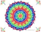 Geometric Art - Rainbow Mandala - Colorful Peaceful Geometry Illustration - 5x7 8x10 or Apprx 11x14 inch Art Print