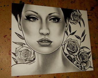 ORIGINAL DRAWING Endlessly 8x10 in Pen and Pencil Drawing by Carissa Rose Lowbrow Tattoo Roses Pretty Woman Girl Portrait Illustration Art