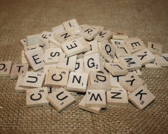 99 Wood Scrabble Tiles - item #1075