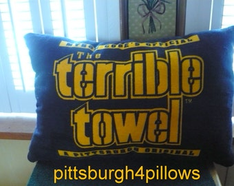 Black - Pittsburgh Steelers- Terrible Towel Pillow - Black Fleece Backing - Price Is For 1 -  21 x 14 After Sewing - Read Description