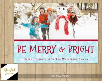 Custom Photo Christmas Card | Christmas Card | Holiday Photo Card | DIY Printable | Be Merry and Bright | Red Blue | Snowflakes