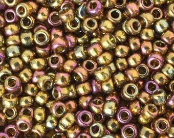 Seed Beads-11/0 Round-459 Gold Lustered Dark Topaz-Toho-16 Grams