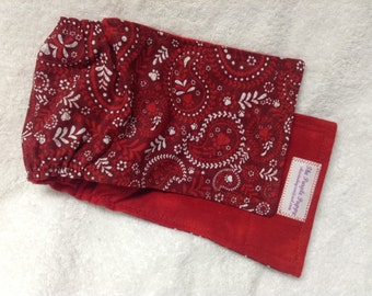 Male Dog Belly Band Diaper Pet Panties Doggie Wrap Pants Red Paisley Paw Prints Custom Sizes To 30 Inches