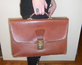 Vintage Schlesinger Brothers Made in USA Full Grain Cowhide California Saddle Leather Briefcase Bag Attache