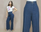 70s Jeans High Waisted Dark Denim Bell Bottoms 1970s Hippie Blue Jean Trousers Belted Cuffed Sailor Pants / Size L Large