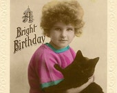 Little Girl and Her Black Cat Antique Real Photo Postcard A Bright Birthday