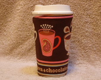 ARTI Coffee Cup Sleeve, Coffee Latte in pinks   REVERSIBLE with Pocket