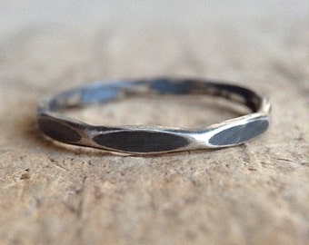 Antique Silver Marquise Ring, Sterling Silver, Hammered Ring, Girlfriend Gift, Diamond Band, Gift For Her, Bohemian Jewelry , Christmas Gift