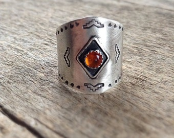 Sterling Silver Armor Ring, Amber Ring, Shield Ring, Aztec Ring, Navajo Inspired Jewelry, Armour Ring, Pyramid Ring, Bohemian Ring - SIZE 8