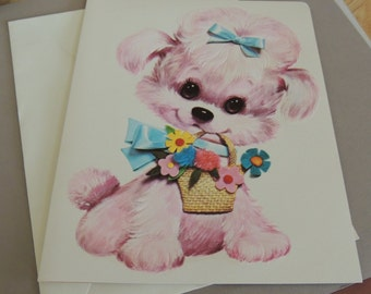 1970s Pastel Pets Oversized Card and Envelope