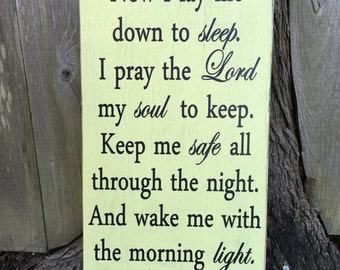 Now I lay me down sign,Fixer Upper Signs,24x14, Rustic Wood Signs, Wall Décor