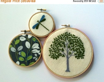 Christmas in July Sale Tree. Leaves. Dragonfly. hand embroidered. home decor. hoop art. wall decoration. spring green. aqua. gray. botanical