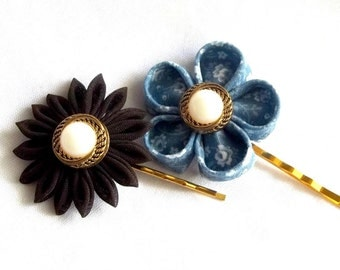 Blue and Brown Floral Bobby Pin Set Cute Hair Flowers