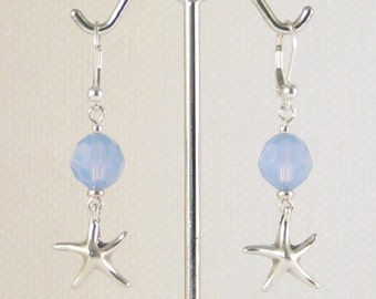 Starfish Sterling Silver Dangle Earrings w/Swarovski Air Blue Opal Crystals:  ocean jewelry, cruise wear, sea life jewelry, starfish wishes