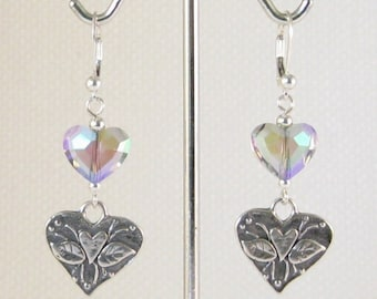 Heart Felt Sterling Silver Dangle Earrings Swarovski Paradise Shine Crystals:  quinceanera gift, mothers birthday gift, mothers day gift