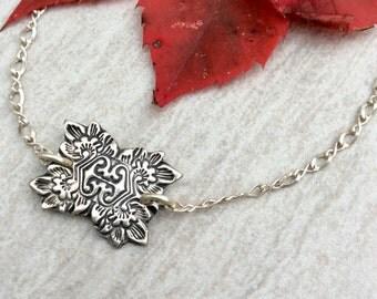 Paisley Bracelet || Floral Bracelet || Victorian Bracelet  || Stamped Fine Silver || Boho || Boho Bracelet || Yoga Jewelry || Yogi