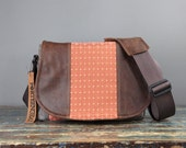 Medium - Leather Camera Bag New Satchel  -  Peach Diamonds Distressed  Leather DSLR - IN STOCK
