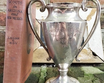 SALE Vintage 1930 Girl Scouts Trophy with Book and Badges