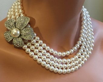 COMPLETE Bridal Jewelry Set - Pearl Necklace Bracelet and Earrings with Rhinestone Brooch 4 Multi Strands Swarovski Pearls choice of color