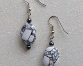 Mosaic Turquoise Magnesite & Hematite Gemstone Earrings Wire Wrapped Dangle Drop Earrings Handmade