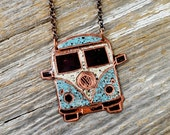 Classic VW Bus Necklace Hand Engraved and Enameled Classic Tattoo Flash Inspired Necklace - ReaganJuel: Inkd3
