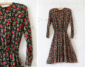 Rose Print Dress XS/S • Flared Dress XS/S • Floral Grunge Long Sleeve Dress • 80s Black Floral Dress • Rayon Dark Floral Dress | D351