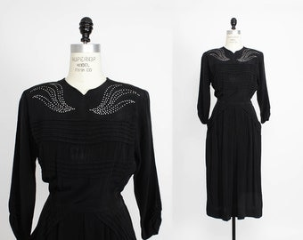 40s Dress S/M • Black Rayon Dress • Leslie Fay Dress • Rhinestone Dress • 40s Rayon Dress Small | D318