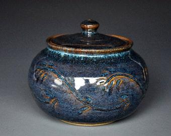 Blue Ceramic Jar Pottery Sugar Bowl Stoneware Pottery Jar Handmade Jar B