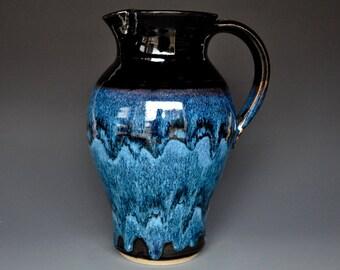 Blue Pottery Pitcher Ceramic Pitcher Stoneware Pitcher Handmade Pitcher Jug B
