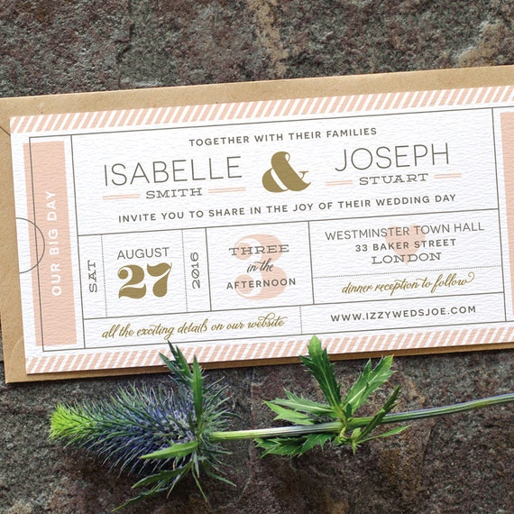 Wedding Invitation Tickets: Modern Ticket Wedding Invitation / 'Typography By