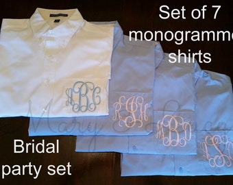 SET OF 7 Monogrammed Button Down shirts, Bride or Bridesmaid, Wedding day party cover ups