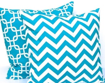 Sale Throw Pillows Turquoise Decorative Throw Pillow Covers 16 x 16 Inches Chevron and Chain Link Gotcha by Premier Prints