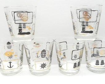 Vintage Nautical Glasses , Lowball  Drinking Glasses , Black and Gold Drinking Glasses
